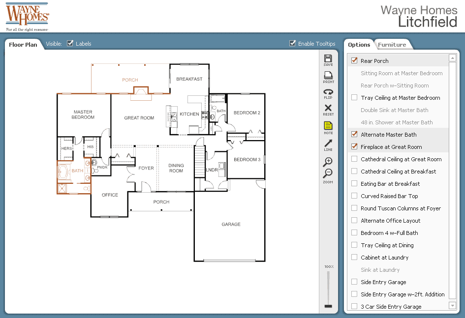 Design your own floor plan online with our free interactive planner wayne homes interactive floor plan customize malvernweather Image collections