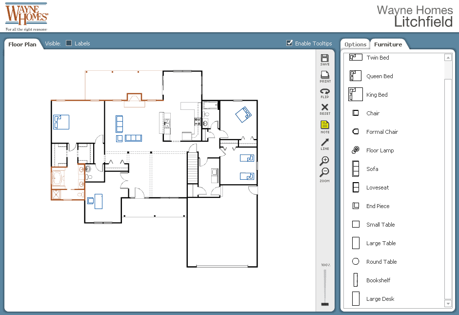 Design your own floor plan online with our free interactive planner wayne homes interactive floor plan furnish ccuart Choice Image